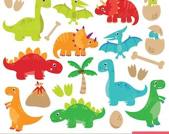 Dinosaur Clipart, Cute Dinosaurs, Pterodactyl, Dino, Tyrannosaurus Rex, Stegosaurus, Triceratops, Egg - Commercial & Personal