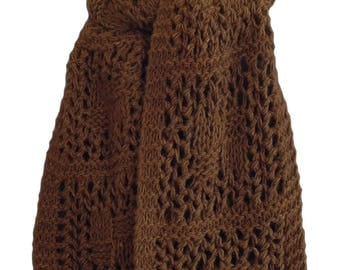 Hand Knit Scarf - Chocolate Brown Checkerboard Wool