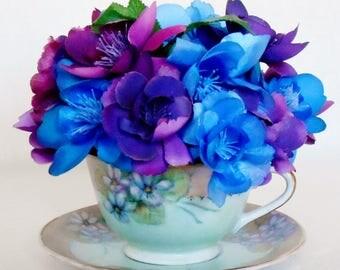 Teacup Silk Flower Arrangement, Small Dark Blue Roses, Small Purple Roses, Vintage Teacup, Teacup artificial Flowers, Teacup Flower Decor,