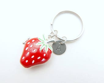 Strawberry stainless steel Keyring, Strawberry initial keychain