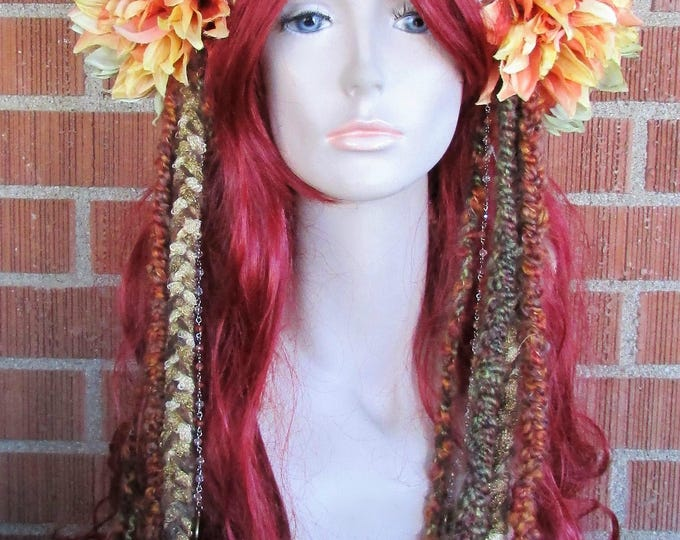 Mushroom Headdress, Woodland Headpiece, Flower Headband, Dreaded Headdress, Festival, Cosplay, Fairy, Woodland, Fantasy, Costume, Bohemian