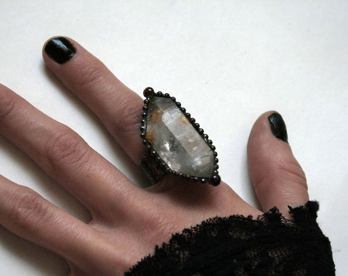 Extra Large Double Terminated Tibetan Quartz Crystal Ring