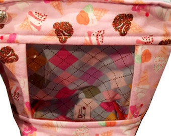 "Soft Wedge ""Ice Cream"" Window Cosmetic/Accessory Bag with Side Handle"