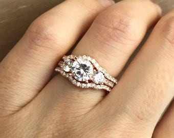 rose gold bridal set ring three stone engagement ring set matching band promise ring - Rose Gold Wedding Ring Set