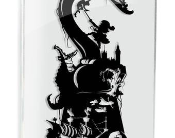 Peter Pan // silhouette hand cut paper craft unique wall art disney inspired artwork