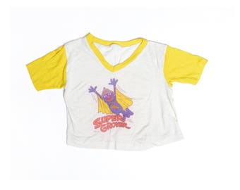 Vintage 70's TODDLERS Super Grover Graphic T-Shirt Sz 3T