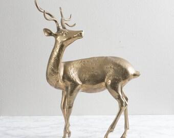 """Vintage 25"""" Brass Deer Large Gold Caribou Reindeer Elk"""