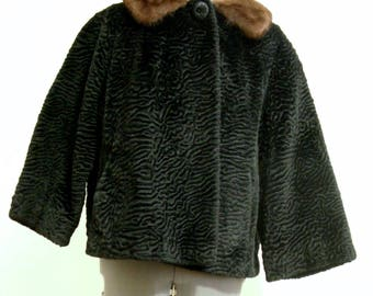 FREE SHIPPING! Russel Taylor faux Persian lamb jacket with real mink collar size Small