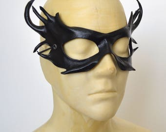 Woodland Horned Fairy Sprite Black Leather Cosplay Masquerade Fancy Dress Mask