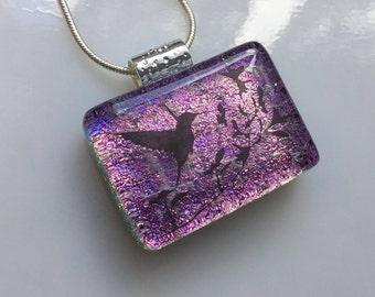Dichroic Glass Hummingbird Pendant, Fused Glass Jewelry, Pink Hummingbird Necklace