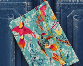 ZIPPED POUCH with strap, fabric pouch, case Blue birds, hummingbirds