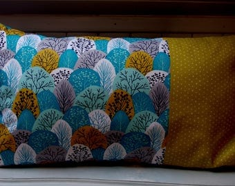 Cushion deco patchwork, turquoise blue and mustard yellow.