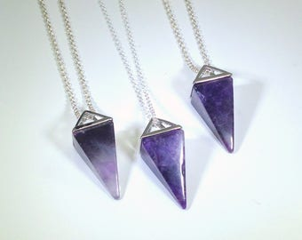 Amethyst Necklace Triangle Necklace Amethyst Pendant February Birthstone Sterling Silver Necklace Amethyst Jewelry Geometric Jewelry