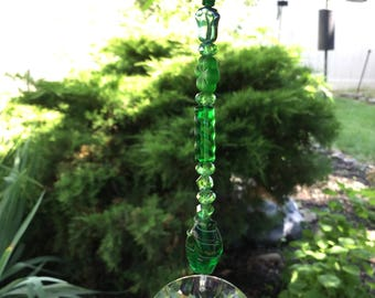 Free Shipping - Spiritual Connection - Green Crystal Suncatcher/Prism/Meditation Suncatcher/Prism/Healing Crystal Suncatcher/Prism