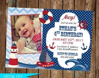 Nautical Invitation, Nautical Birthday Invitation, Sailboat Birthday, Nautical Invite, Sailor Birthday, Nautical Party, Printable Invitation