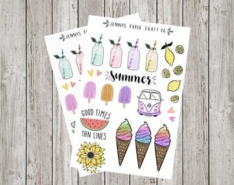2-Pack Cute Summertime Collection Sticker for Planner and Journal