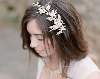 Headpiece Bridal Headpiece Gold, Bridal Headpiece, Bridal Hair Accessory BLAKE Bridal Headpiece, Gold Wedding Hair Vine, Bridal Hair Vine,