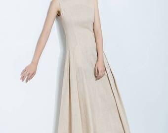 Beige Linen Dress,Pleated Skirt,Sleeveless Dress,Midi Length Dress,Summer Dress,Women's Dress C1139