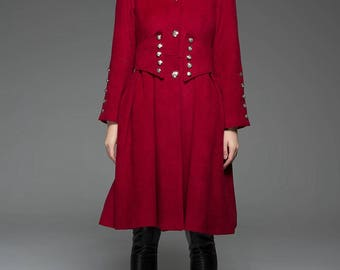 Red wool coat | Etsy