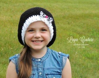 Handmade Black and White Slouchy Crochet Hat with Bow / Photo Prop / Custom Made / Toddler to Adult Sizes