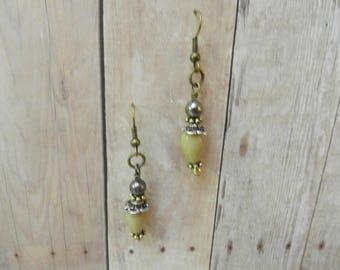 Vintage Inspired, Dangle Earrings, Glass Teardrop bead, Antique brass finish ear wires