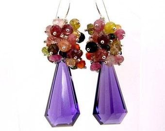 Amethyst tourmaline earrings / gemstone/925 semi-precious stones.