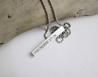 Anniversary Gifts for Men - Christian Gift for Him - Men's Custom Necklace - Personalized Hand Stamped Bar Necklace