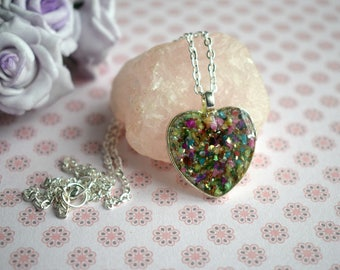 Heart Necklace - Resin Heart Necklace - Confetti Heart Necklace - Colourful Necklace - Birthday Gifts - Heart Jewellery - Love Heart Pendant