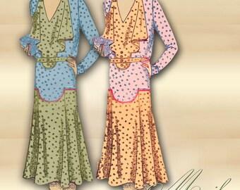 20s Flapper Dress Pattern Collarless V Neckline Dropped Waist Flared Skirt Wide Bodice Jabot Sleeve Options Plus Size Pattern Mail Order 723