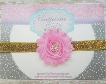 Pink and Gold Headband, Baby Headband, Infant Headband, Newborn Headband, Baby Headband, Birthday Headband, Pink and Gold