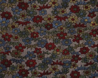Vintage Japanese kimono fabric. Floral wool kimono fabric