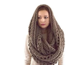 SALE Oversized Knit Chunky Blanket Infinity Scarf Hood Shawl | The Prague