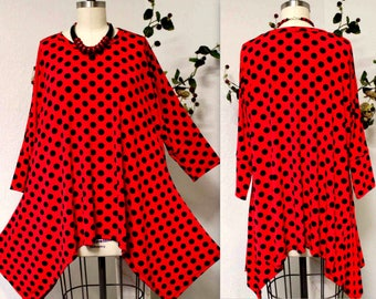 Dare2bstylish,Adorable and Comfortable Lagenlook Plus size Tunic in Polka Dot. 1XL/2XL/3XL