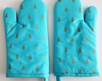 Aqua Oven Mitt, Gold, Pineapple Kitchen Oven Mitt, Teal, Cook, Blue, Chef, Baker, Bake, Cookware Accessory