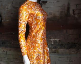 MICRO MINI 1960's Golden Orange Floral Mod Micro Mini Dress