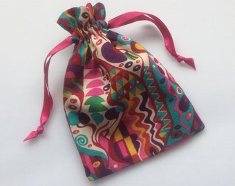 Liberty of London Tana Lawn small fully lined drawstring bag, gift bag, jewellery pouch, bridesmaid's gift bag