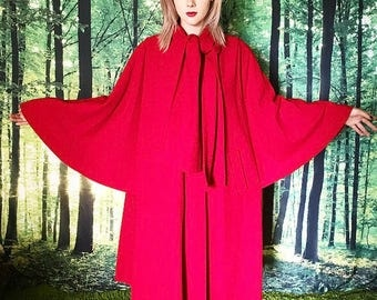 1960s Red Wool Little Red Riding Hood Batwing Cape