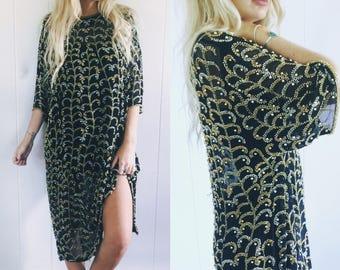 Vintage Stunning Heavy Beaded Sheer Silk Dress