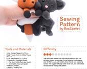Fox and Cat Stuffed Animal Sewing Pattern, Plush Toy Pattern, PDF