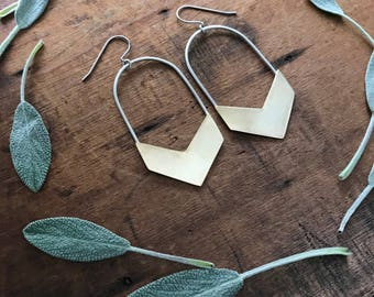 Chevron Earrings : Mixed Metals Collection