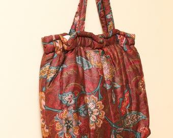 Floral Tote Bag // Boho Shoulder Bag // 80s does 60s Tote Folks Hinged Carryall Bohemian Hippie Large Tote