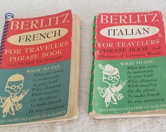 Berlitz FRENCH for Travelers, Berlitz ITALIAN for Travelers, small pocket language travel books