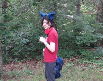 Black and Blue Furry Costume Animal Ears