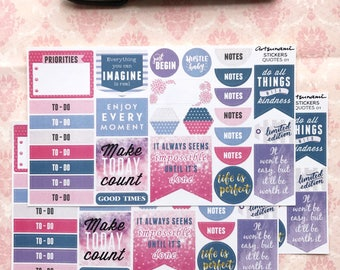Quotes 01 Banners Tabs Positive Motivational Planner Journalling Scrapbooking Kiss Cut Stickers
