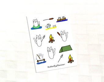 Outdoors Tiggero Deco Sticker Sheet for Your Planner, Camping, Vacation, Fishing, Swimming, Roasting Hot Dogs and Marshmallows, Campfire