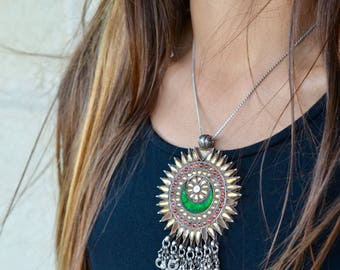 Indian sun flower silver pendant vintage gypsy tribal necklace amulet with bells oversized bohemian unique sunflower crescent moon floral