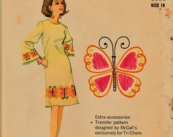 FAB 60s McCalls Pattern 0535 Jackie O Style Dress w Unique Embroidery Transfers Sz 18 UNCUT FF Very RaRE OoAK Vintage Sewing Patterns Supply