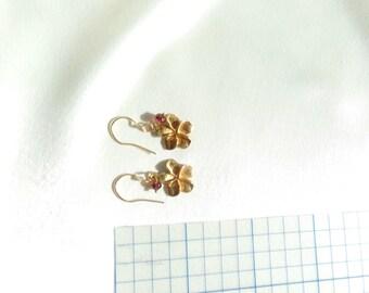 Plumeria flower vermeil on gold filled wire pink tourmaline earrings gemstone handmade MLMR item 764