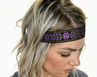 Purple and Gold Floral Boho Headband - Limited Quantities!