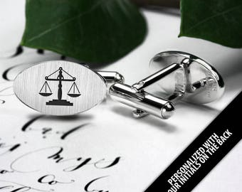Lawyer gift - Lawyer Cufflinks Sterling Silver – Lustitia Cufflinks – Scales of Justice – Law Cufflinks